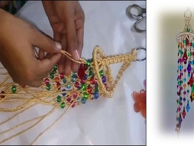 How to make Jhumar at home with macrame  beautiful design  easy step by step.