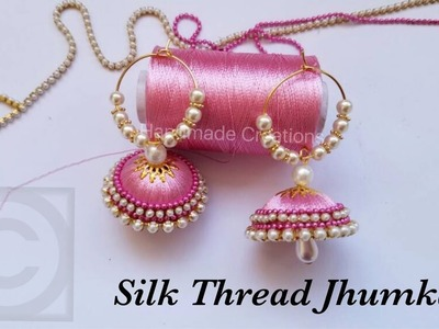 How To Make Silk Thread Jhumkas Hoop Style||Beautiful Pink jhumkas with Pearls