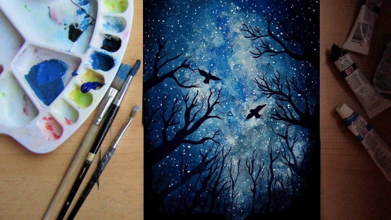 HOW TO PAINT A NIGHT SKY - speed painting