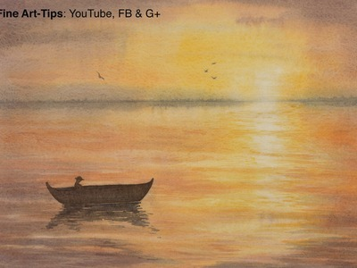 How to Paint a Waterscape Sunset in Watercolor - Sea - Ocean - Lake - Water