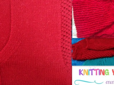 Ladies designed border Red half sweater (Hindi)