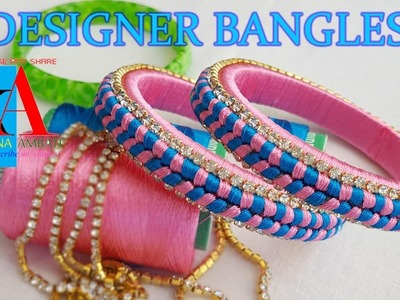 Making of silk thread designer bangles - fish bone knot design bangles