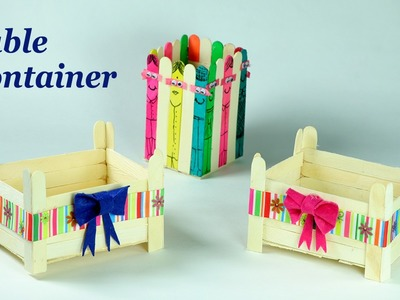 Popsicle Stick Crafts - Cute Containers for Your Dining, Drawing, & Study Table