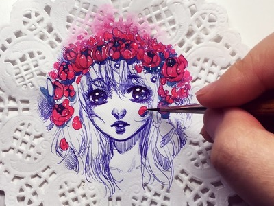 Starry Flower Crown - Watercolor + Pen on Doily Speedpaint
