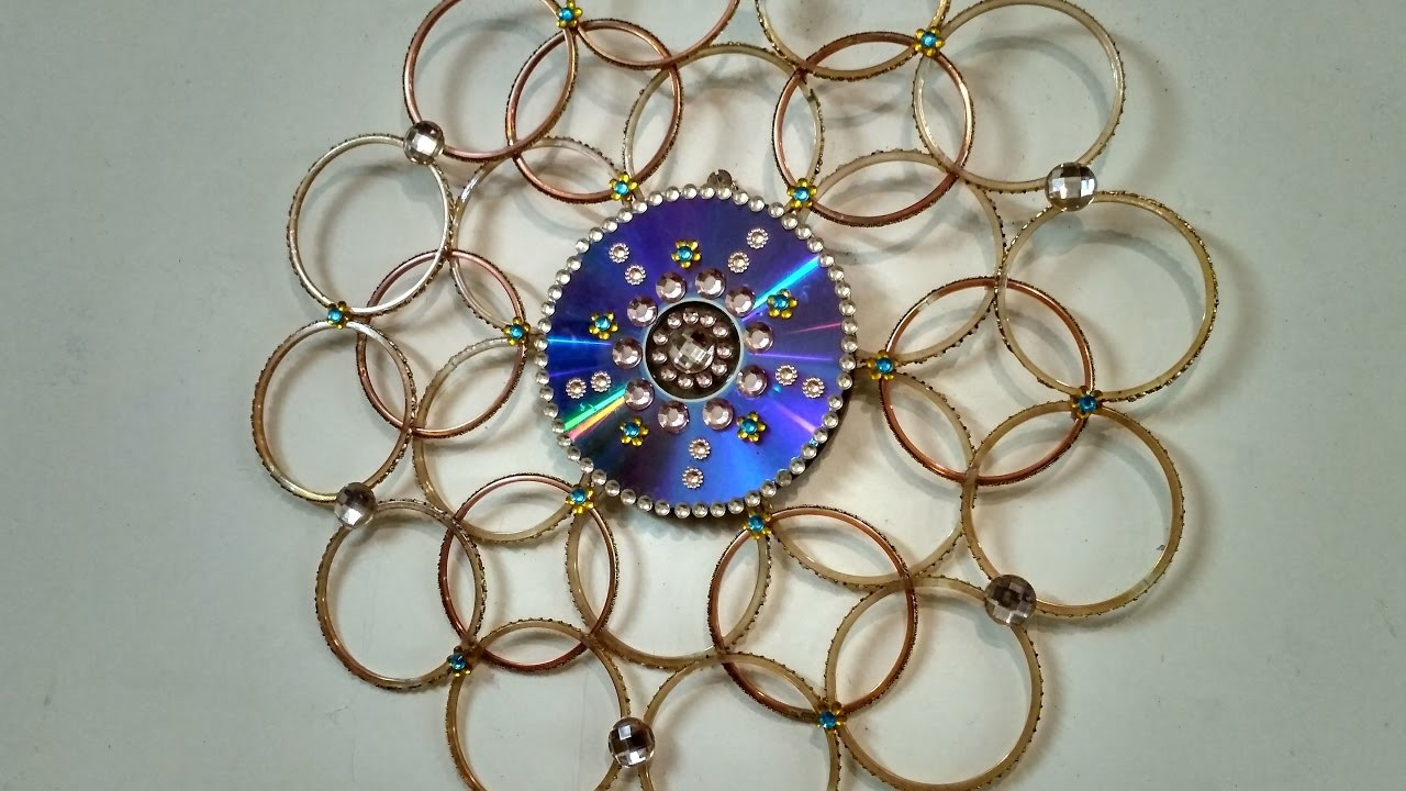 Wall hanging made out bangles best out of waste my for Waste out of best from bangles