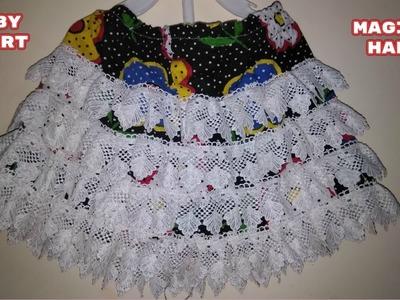 Baby skirt.make baby skirt at home.easy hindi tutorial.diy.magical hands