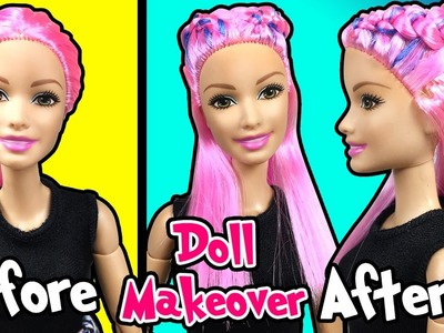 Barbie Doll Makeover - DIY Dutch Braid Hairstyle and Hair Extension - Making Kids Toys