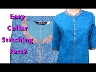 Best ever Round collar kurti tutorial ,china collar,kurti cutting  explained DIY part2 Hindi