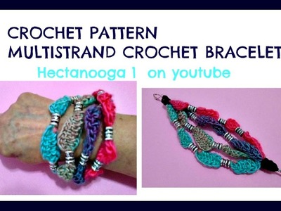 Crochet a BEADED MULTI-STRAND BRACELET OR NECKLACE, #1173yt, CROCHET JEWELRY