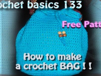 Crochet Basics# 133 Spring Cinch Purse By K.Jolie Beginner Project New Cotton Yarn Bag