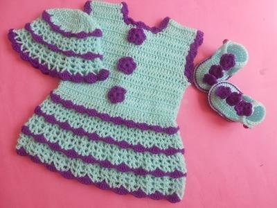 (Crochet-Crosia) how to make Crochet baby dress