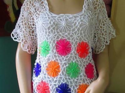 Crochet de verano con telar de flores parte 1 de 2  para principiantes