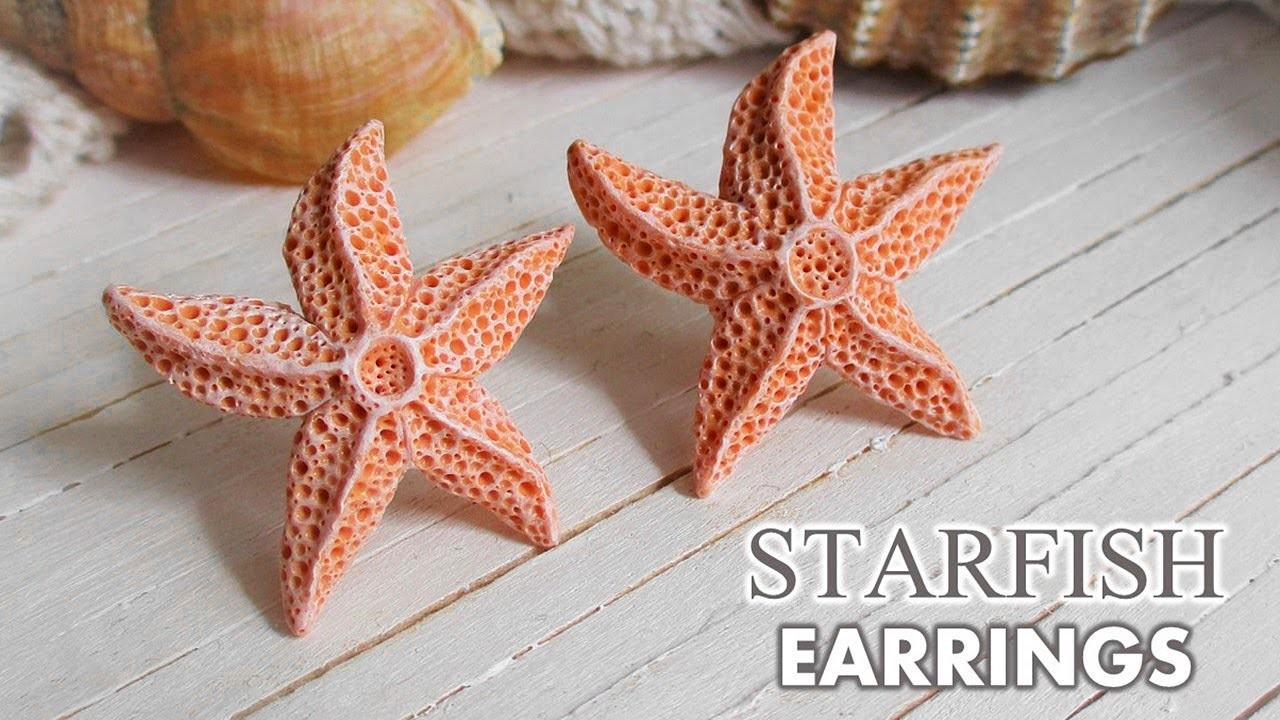 diy aquamarine starfish earrings polymer clay tutorial