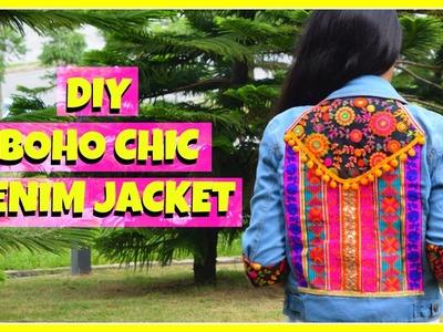 DIY Bohemian Denim ll Boho Chic Denim Jacket Upcycle ll Gucci style bomber jacket