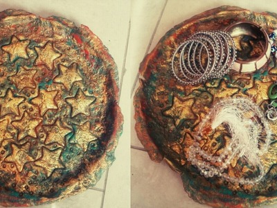 DIY Cardboard Jewellery plate. Room Decor. How to make  Cardboard mache