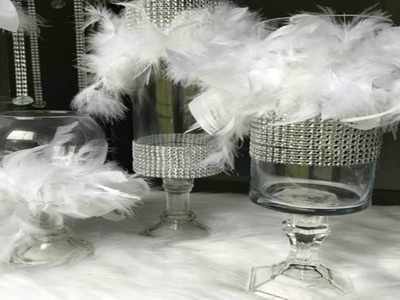 DIY DOLLAR TREE FEATHER BOA & BLING CANDLE HOLDER IDEA | WEDDING CENTERPIECE