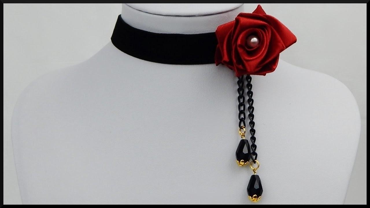 diy halskette mit stoffrose velvet choker necklace ribbon rose vintage jewelry my crafts and. Black Bedroom Furniture Sets. Home Design Ideas