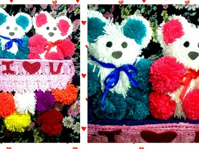 DIY How to make woolen Teddy bear wall hanging | Pompom Teddy | woollen wall decor | woolen craft