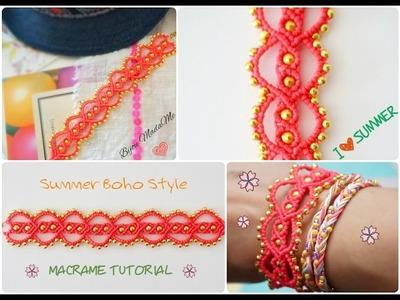 DIY Macrame tutorial. How to make easy summer boho style macrame bracelet.