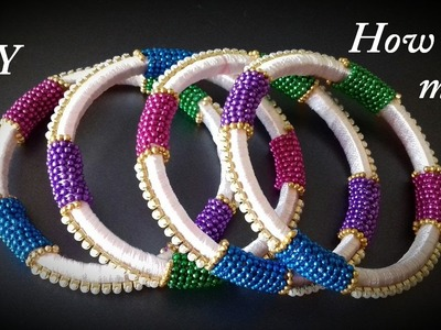 DIY || making of multicolour silk thread bangles || easy and simple || handmade Tutorial