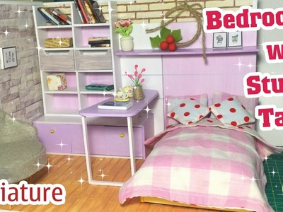 DIY Miniature Bedroom with Study Table | How to make a Bedroom with Study Table