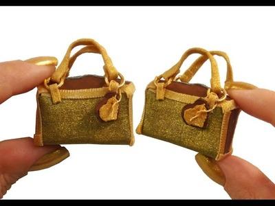 DIY Miniature ✫Golden Handbag✫ for Dollhouse TUTORIAL – Crafts