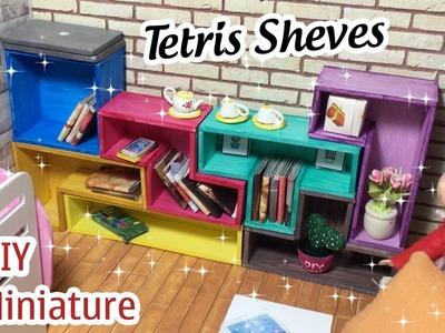 DIY Miniature Tetris Shelves | How to make a Tetris Shelves for Dollhouse with Multi Color