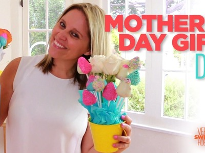 DIY MOTHERS DAY GIFT IDEA! Last minute!  Flower and chocolate strawberries bouquet