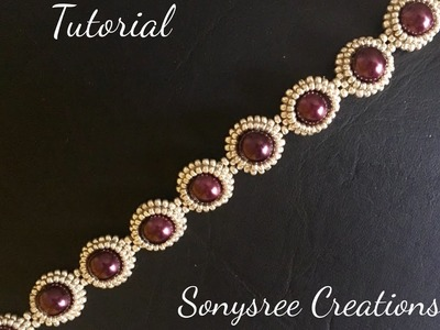 DIY pearl beaded bracelet(simple and elegant) square Stitch