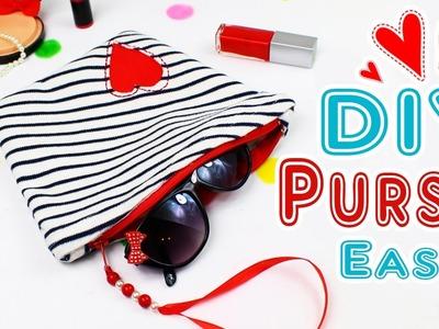DIY PURSE BAG SO CUTE AND SIMPLE TUTORIAL [Zipper Bag & Make-Up Bag]