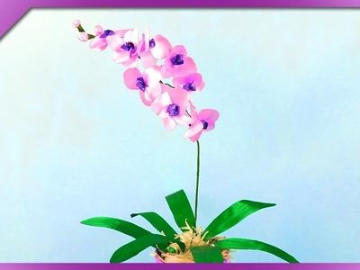 DIY Ribbon orchid (ENG Subtitles) - Speed up #354
