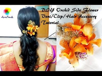 DIY Side Flower Veni.Clip.Hair Accessory Poola Jada Making at home
