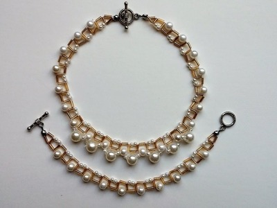 DIY Simple jewelry pattern with pearls and bugle beads. Beginners project