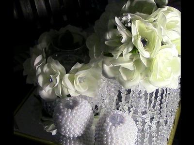 DIY: Three Piece Pearls and Crystals Center Piece DIY Wedding Series Week 3