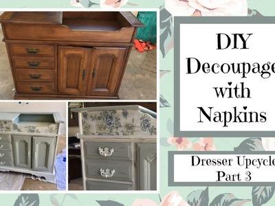 DIY Upcycle Dresser (Part 3) Decoupage