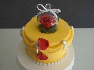 Easy Beauty & the beast Fondant Cake dekoration - DIY Fondant Rose w.o wires & tools - Gcf