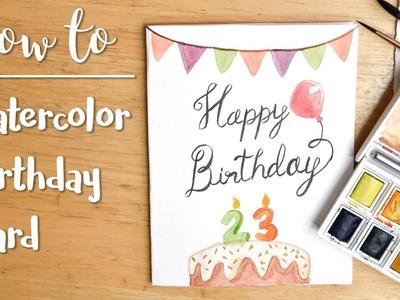 Easy DIY Watercolor Birthday Card