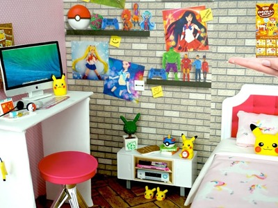 Gamer Doll Room DIY with Pokemon Rement Unboxing Miniature Accesories - Titi Toys and Dolls