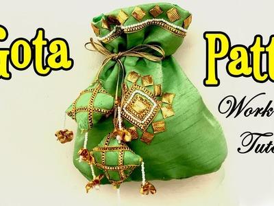 Gota Patti Work Tutorial | DIY Potli Bag Making