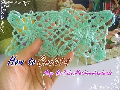 How to Cro014 Crochet pattern. ถักผังลายโครเชต์ ลายสี่เหลี่ยม  _ Mathineehandmade