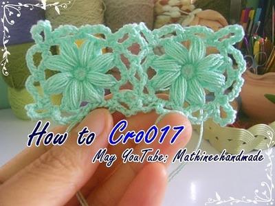 How to Cro017 Crochet pattern. ถักผังลายโครเชต์ ดอกกลมต่อแบบสี่เหลี่ยม  _ Mathineehandmade