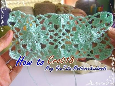 How to Cro018 Crochet pattern. ถักผังลายโครเชต์ ดอกสี่เหลี่ยม  _ Mathineehandmade