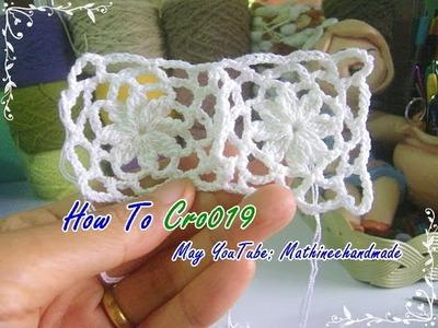 How to Cro019 Crochet pattern. ถักผังลายโครเชต์ ดอกสี่เหลี่ยม  _ Mathineehandmade