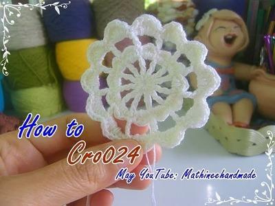 How to Cro024 Crochet pattern. ถักผังลายโครเชต์ ดอกวงกลม 12 กลีบ _ Mathineehandmade
