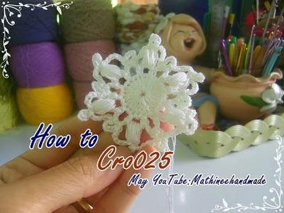 How to Cro025 Crochet pattern. ถักผังลายโครเชต์ ดอกหกเหลี่ยม _ Mathineehandmade
