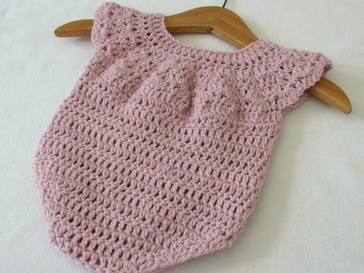 How to crochet a cute baby girl's romper. onesie