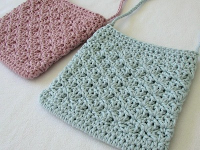 How to crochet a pretty shell stitch purse. bag