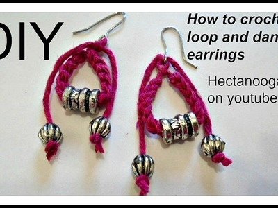 How to CROCHET LOOP AND DANGLES EARRINGS - Crochet Jewelry #1177 yt, video # 1430, Mother's Day gift