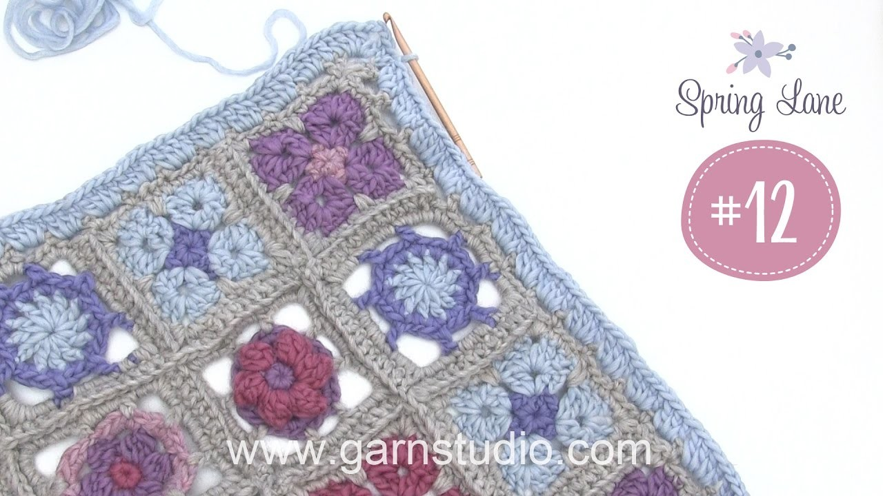 How to crochet the 12th clue to the DROPS Mystery blanket Spring Lane - Edge