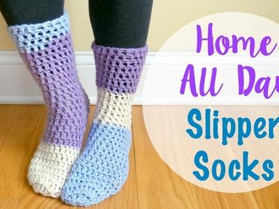 How To Crochet the Home All Day Slipper Socks, Episode 414